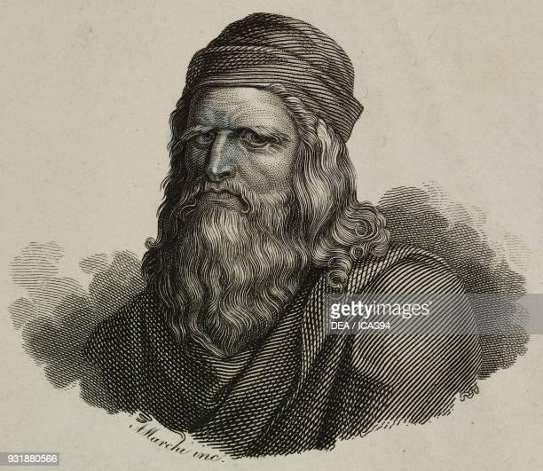 Portrait of Leonardo da Vinci Italian engineer painter and scientist engraving by Marchi