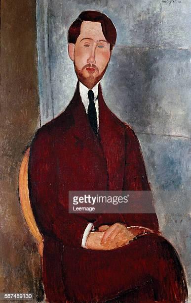 Portrait of Leopold Zborowski , polish poet and art dealer - Painting by Amedeo Modigliani , oil on canvas, 1917 - Museu de Arte, Sao Paulo