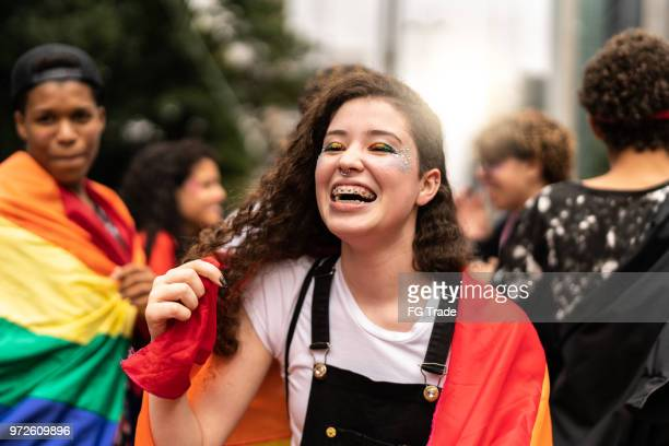portrait of lesbian young woman - gay rights stock pictures, royalty-free photos & images