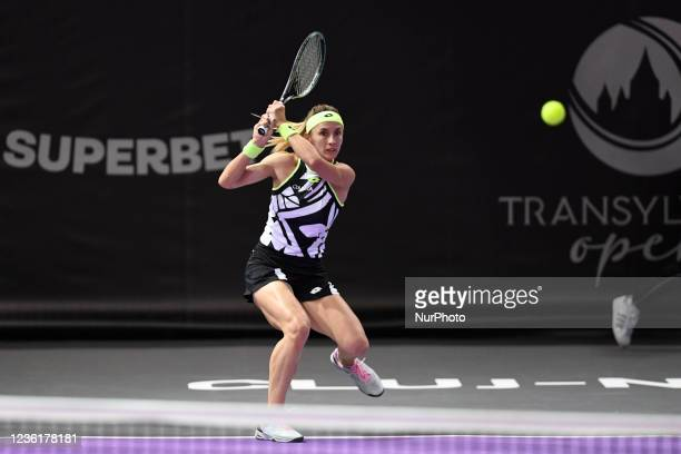 Portrait of Lesia Tsurenko in action- receiving the ball during her match against Andreea Prisacariu on the third day of WTA 250 Transylvania Open...