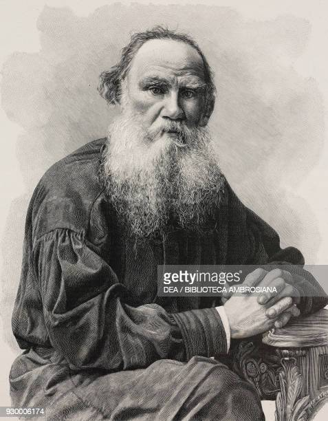 Portrait of Lev Tolstoy , Russian writer and philosopher, engraving by Ernesto Mancastroppa , from L'Illustrazione Italiana, Year XXXVII, No 47,...