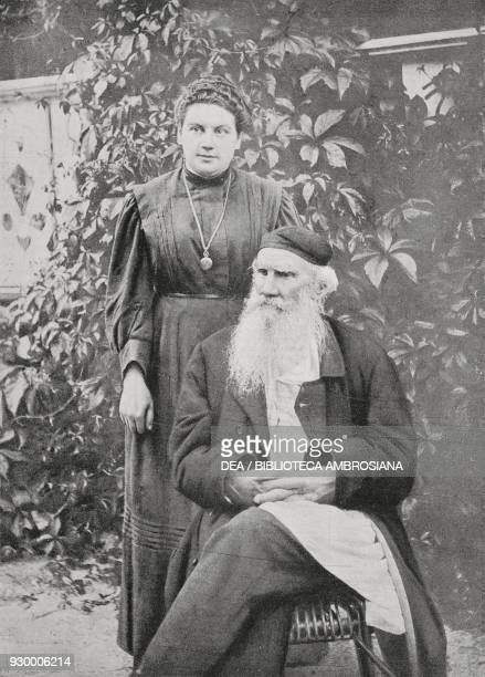 Portrait of Lev Tolstoy Russian writer and philosopher with his daughter Alexandra Tolstaya also known as Sasa from L'Illustrazione Italiana Year...
