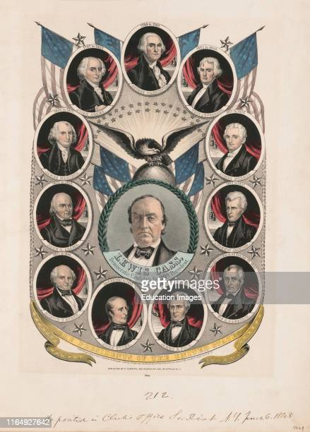Portrait of Lewis Cass Democratic Candidate for 12th president Surrounded by Portraits of Previous US Presidents Campaign Banner Lithograph Nathaniel...