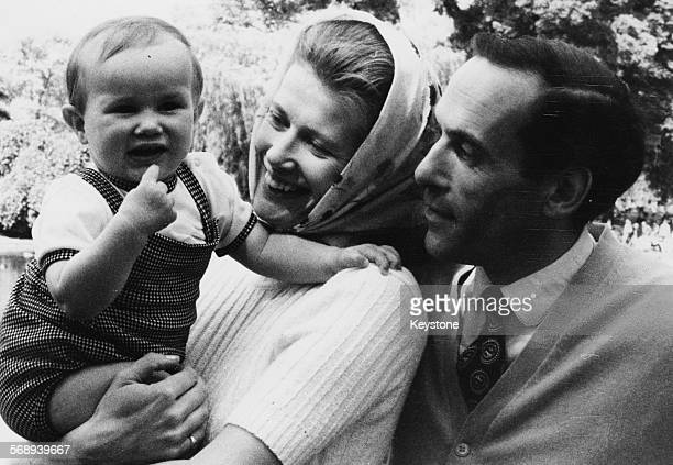 Portrait of Liberal Party leader Jeremy Thorpe with his wife Caroline and baby son Rupert in St James's Park London circa 1970 Printed following her...