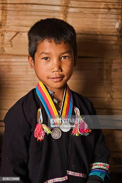 Portrait of little Akha boy in Northern Laos