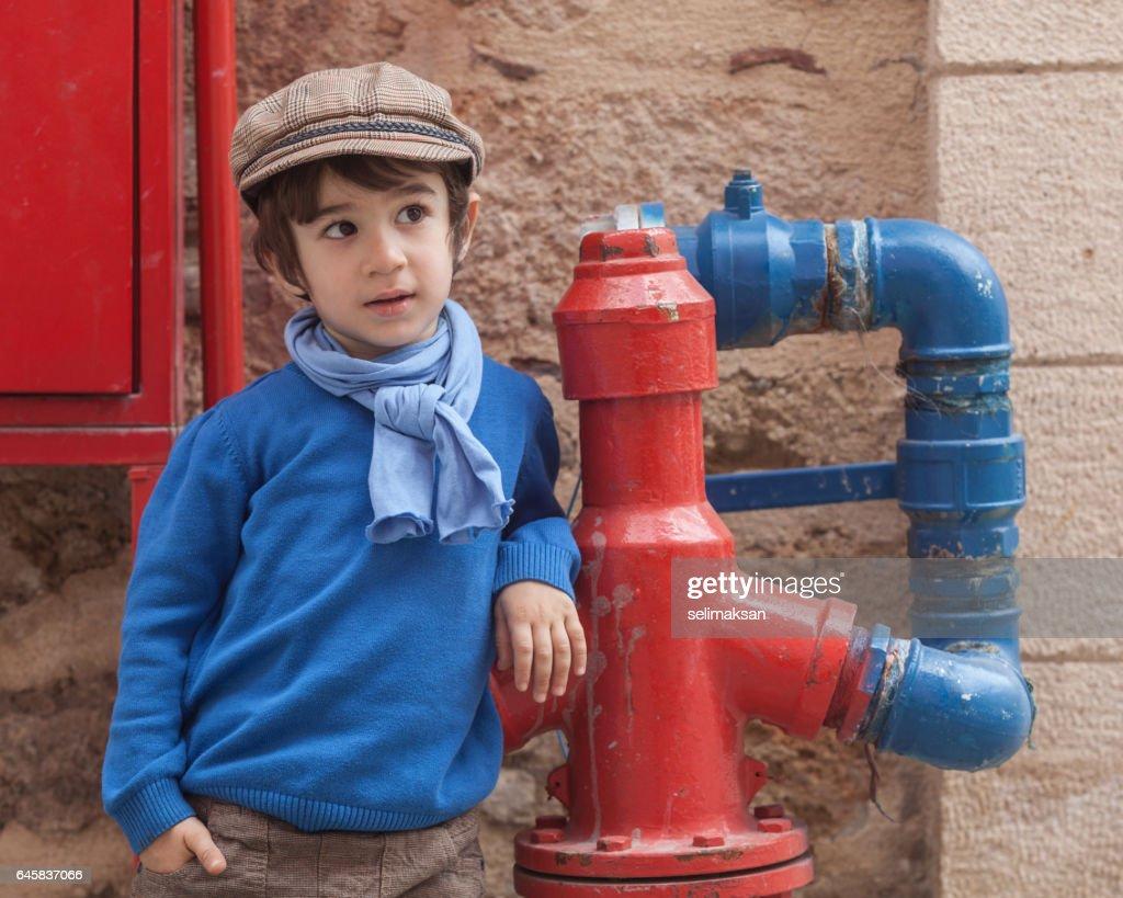 Portrait Of Little Boy In Outdoor : Stock Photo