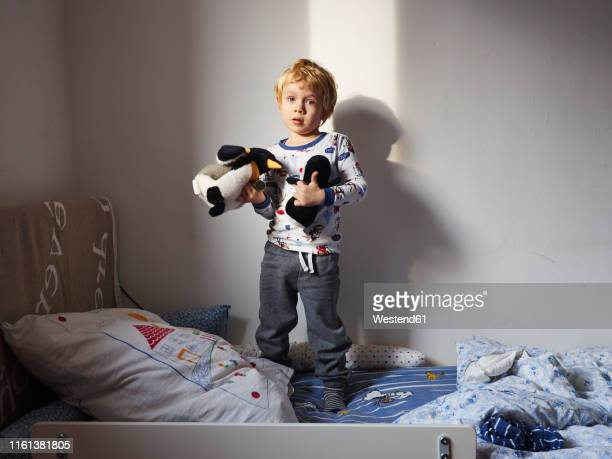 portrait of little boy standing on bed with his soft toys - nur kinder stock-fotos und bilder