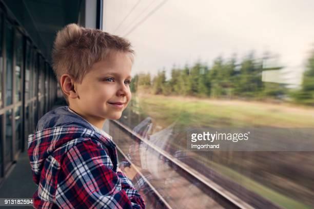 Portrait of little boy travelling by train
