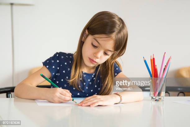Portrait of little girl drawing