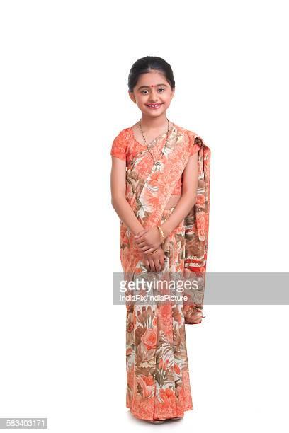 portrait of little girl dressed as housewife - mangala sutra fotografías e imágenes de stock
