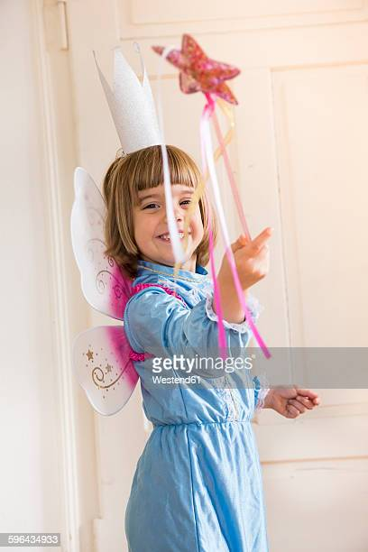 Portrait of little girl dressed up as fairy queen