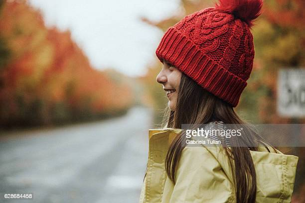 portrait of little girl during autumn - september stock-fotos und bilder