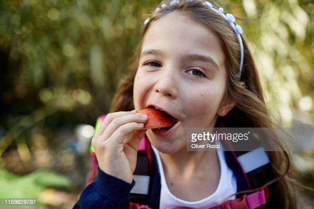 portrait of little girl eating an apple chunk outdoors - linda oliver fotografías e imágenes de stock