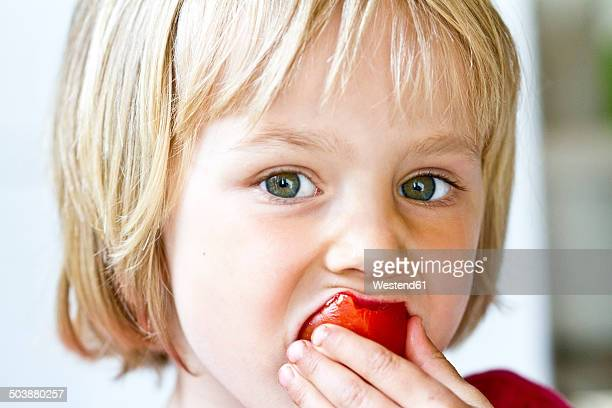 Portrait of little girl eating tomato