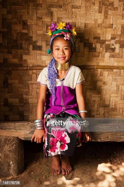 Portrait of little girl from Long Neck Karen Tribe