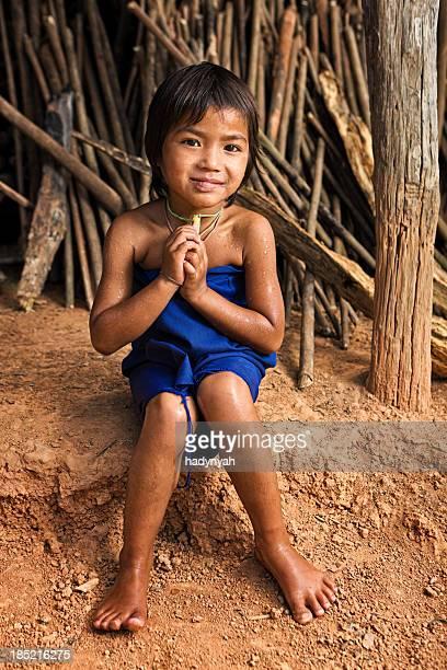 少女のポートレート、北部ラオス - ラオス ストックフォトと画像