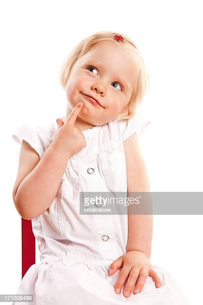Retrato de niña de pensamiento