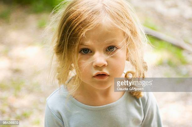 portrait of little girl with long blond hair