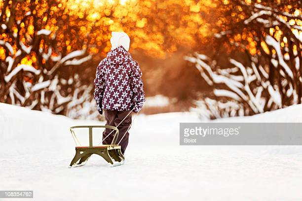 Portrait of little girl with sled