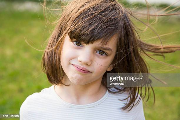 Portrait of little girl with wafting hair