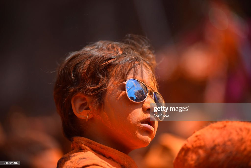 """A Portrait of little kid with full of vermillion powder during the celebration of """"Sindoor Jatra"""" vermillion powder festival as Nepalese New Year day celebration at Thimi, Bhaktapur, Nepal on Sunday, April 15, 2018."""
