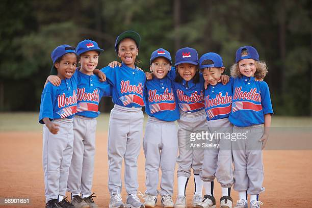 portrait of little league team - baseball team stock pictures, royalty-free photos & images