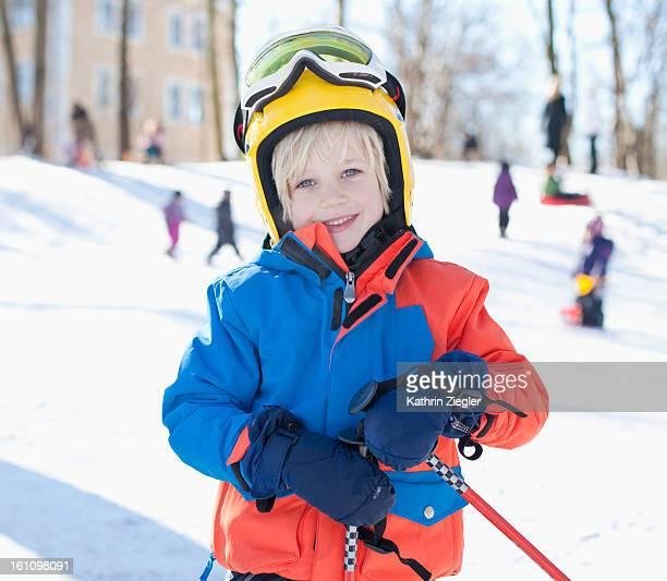 portrait of little skier