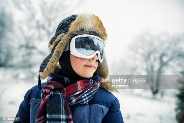 portrait of little skier - aviation hat stock photos and pictures