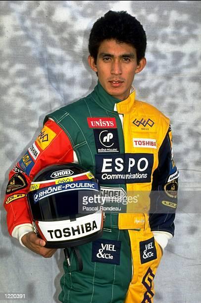 Portrait of Lola Lamborghini driver Aguri Suzuki of Japan before the Portuguese Formula One Grand Prix held at the Estoril circuit in Estoril...