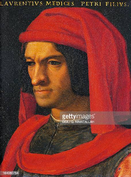 Portrait of Lorenzo de Medici also known as the Magnificent ruler of Florence painting from Agnolo Bronzino's workshop 15651569 oil on tin 16x125 cm...
