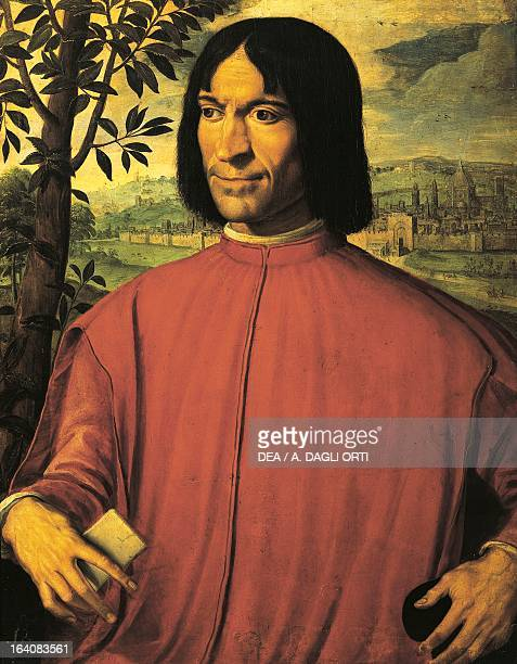 Portrait of Lorenzo de Medici known as the Magnificent ruler of Florence painting by Girolamo Macchietti Florence Palazzo Pitti