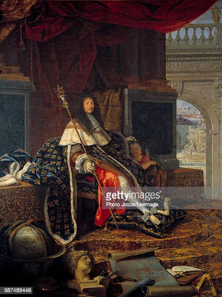 Portrait of Louis XIV King of France, protector of the Royal Academy of Painting and Sculpture, with the scepter of Charles V called the scepter of...