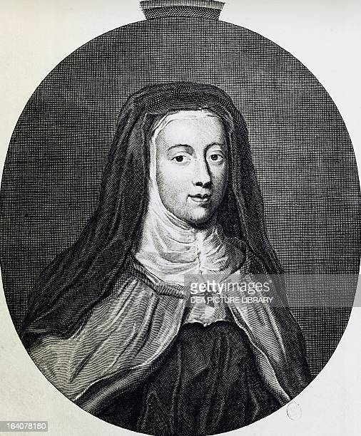 Portrait of Louise de la Valliere favourite of Louis XIV who later retired to a convent under the name of Sister Louise of Mercy engraving France...