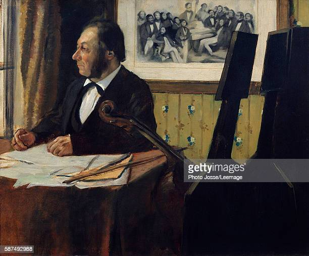 Portrait of Louis-Marie Pilet , cellist in the orchestra of the Opera. Painting by Edgar Degas , 1869. 0,50 x 0,61 m. Orsay Museum, Paris