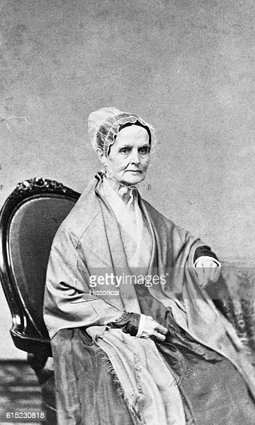 Portrait of Lucretia Mott leader of women's rights and antislavery movements With Elizabeth Cady Stanton called a women's rights convention at Seneca...