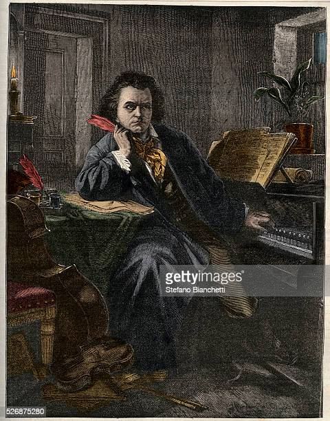 Portrait of Ludwig van Beethoven German composer and pianist engraving 1882