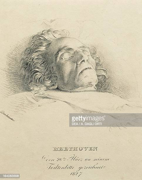 Portrait of Ludwig van Beethoven German composer and pianist on his deathbed