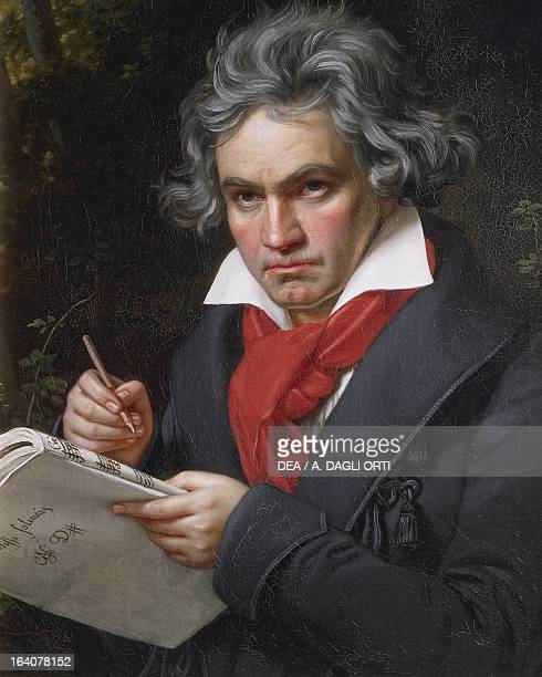 Portrait of Ludwig van Beethoven German composer and pianist composing the Missa Solemnis 18191820 Painting by Joseph Karl Stieler Bonn BeethovenHaus