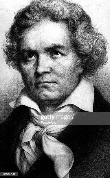 A portrait of Ludwig Van Beethoven the German composer