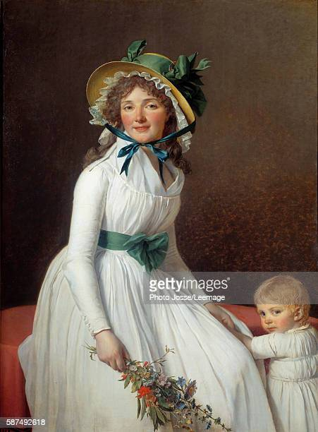 Portrait of Madame Seriziat wife's sister of the artist with her son Emile Painting by JacquesLouis David 1793 131 x 096 m Louvre Museum Paris