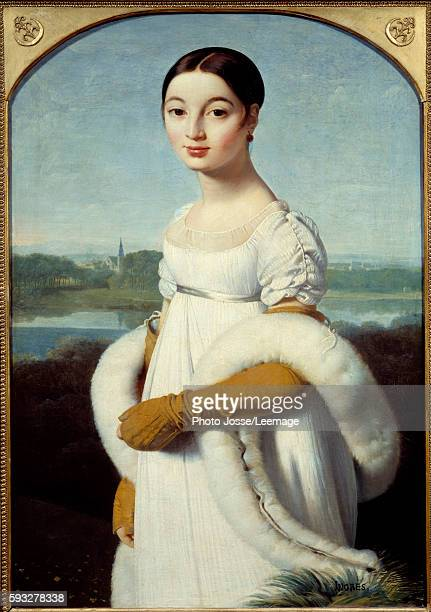 Portrait of Mademoiselle Caroline Riviere The young woman is dressed in the fashion of the First Empire Painting by Jean Auguste Dominique Ingres...