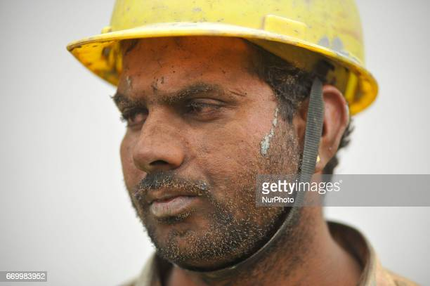 A Portrait of Mahendra Singh Verma 30 yrs migrated from Rajasthan India catches fire on his face's by erupt gas as start doing welding at Sirutar...