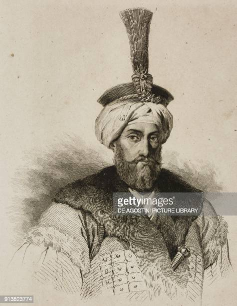 Portrait of Mahmud I Sultan of the Ottoman Empire engraving by Lemaitre Lalaisse and Pannier from Turquie by Joseph Marie Jouannin and Jules Van...