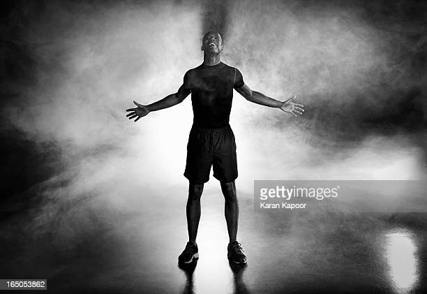 portrait of male athlete - back lit stock pictures, royalty-free photos & images