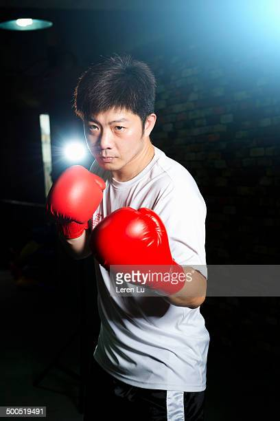 portrait of male boxer with red gloves in gym. - leren stock pictures, royalty-free photos & images