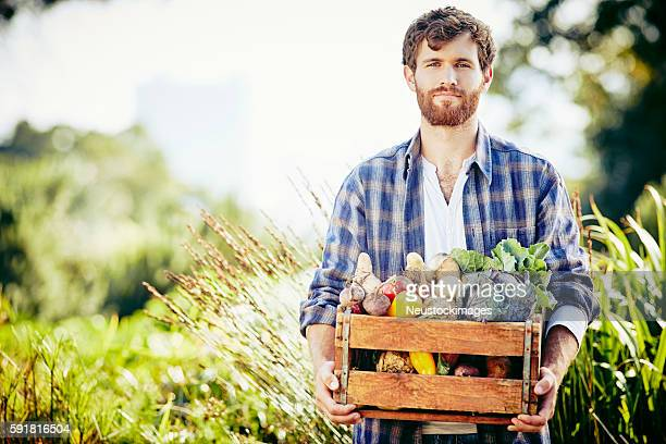 Portrait of male carrying vegetables in crate at organic farm
