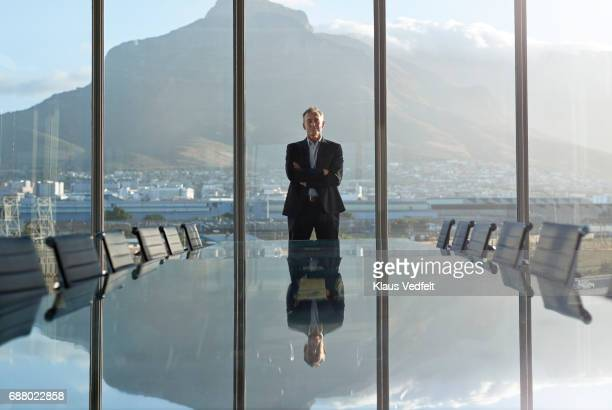 portrait of male ceo in big corner office, looking out of window - three quarter front view stock pictures, royalty-free photos & images