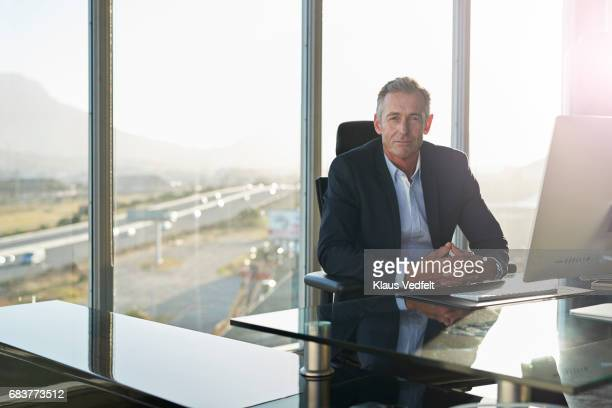 portrait of male ceo in big corner office - business finance and industry stock pictures, royalty-free photos & images