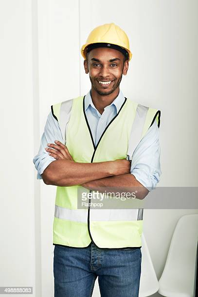 Portrait of male construction worker smiling