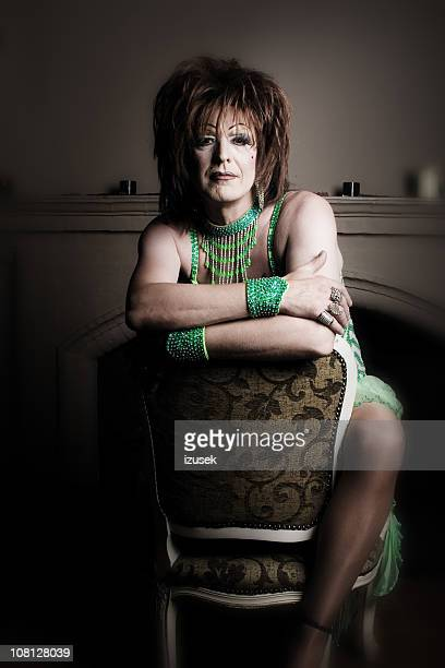 portrait of male cross dresser - transvestite stock photos and pictures